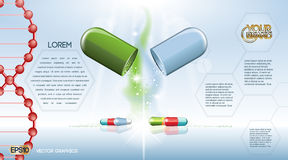 Digital vector green and blue medicine pill. Mockup and dna mesh, with your brand, ready for print ads or magazine design. Transparent and shine, realistic 3d vector illustration