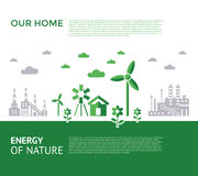 Digital vector green city ecology icons. With drawn simple line art info graphic, presentation with recycle, windmills and alternative energy elements around Royalty Free Illustration