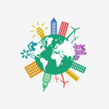 Digital vector green ecology icons. With drawn simple line art info graphic, planet earth, presentation with recycle, alternative energy elements around promo Vector Illustration