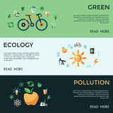 Digital vector green ecology icons. With drawn simple line art info graphic, presentation with recycle, pollution and alternative energy elements around promo royalty free illustration