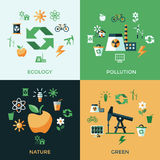 Digital vector green ecology icons. With drawn simple line art info graphic, presentation with recycle, production and alternative energy elements around promo Vector Illustration