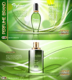 Digital vector green glass perfume Stock Photos
