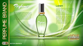 Digital vector green glass perfume for women Royalty Free Stock Photos