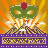 Digital vector green mask over orange background. With clouds, carnival party, flat style Royalty Free Stock Photos