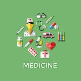 Digital vector green red nurse. Pharmacy medical icons set with drawn simple line art info graphic, ambulance tooth pills tubes medicine dropper first aid Royalty Free Stock Photography