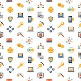 Digital vector line icons set blockchain pack. Illustration with elements for cryptocurrency, seamless pattern Stock Photography