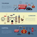 Digital vector london simple icons stock illustration