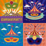 Digital vector mask sets over green and orange. Background with clouds, rio carnival party, toucan birds and brazilian flag, flat style Royalty Free Stock Images