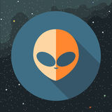 Digital vector with orange alien head sign Stock Photography