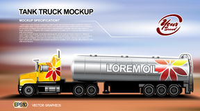 Digital vector orange new modern tank. Truck close up mockup, ready for print or magazine design. Your brand, oil transport. Brown and blue background Stock Image