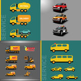 Digital vector orange and red auto car icon set. Food delivery, police, taxi, truck, ambulance and service Vector Illustration