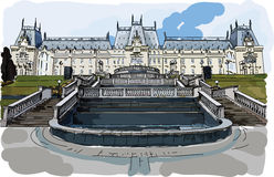 Digital vector painted palace of culture in Iasi Royalty Free Stock Photo