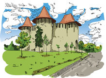 Digital vector painted Soroca Castle Stock Photography
