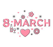 Digital vector pink 8 march Royalty Free Stock Image