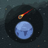 Digital vector planet earth icon with falling Royalty Free Stock Photography