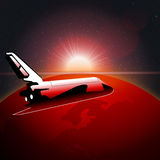Digital vector planet earth icon with red light Royalty Free Stock Photo