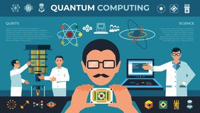 Digital vector quantum computing with engineers. And physics simple icons set collection flat style infographics, new age science stock illustration