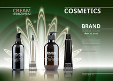 Digital Vector Realistic Cosmetics set collection package. Bottles for beauty products with logo label design. 3d set. Collection on sparkling backgrounds Stock Photography