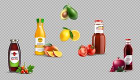 Digital Vector Realistic Fruit Juice Glass Bottles Package Mockup. Digital Vector Realistic Juice Glass Bottles Package Mockup, eglantine, mango, tomato Royalty Free Stock Images