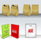 Digital vector recycle brown paper bags mockup Royalty Free Stock Photography