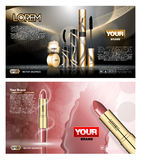 Digital vector red and black skin care, lipstick. Digital vector red and black skin care cream, mascara cosmetic container set mockup collection, your brand Royalty Free Stock Photo
