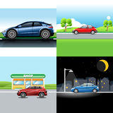 Digital vector red and blue auto car icon set Royalty Free Stock Photography