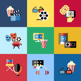 Digital vector red blue 9 cinema icons. With drawn simple line art info graphic, presentation with screen, movie and film elements around promo template, flat Royalty Free Stock Images