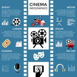 Digital vector red blue cinema icons. With drawn simple line art info graphic, presentation with screen, movie and film elements around promo template, flat Stock Photography