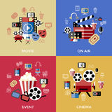 Digital vector red blue cinema. Icons with drawn simple line art info graphic, presentation with screen, movie and film elements around promo template, flat Stock Photo
