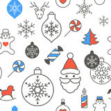 Digital vector blue happy new. Digital vector red blue happy new year merry christmas icons with drawn simple line art info graphic, seamless pattern Royalty Free Stock Photo