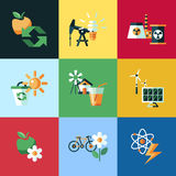 Digital vector red ecology icons. With drawn simple line art info graphic, presentation with recycle, production and alternative energy elements around promo Stock Illustration