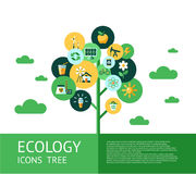 Digital vector red ecology icons. Digital vector green ecology icons tree with drawn simple line art info graphic, presentation with recycle, flowers and Stock Illustration