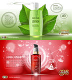 Digital vector red and green glass cosmetic Stock Images