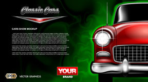Digital vector red old classic car close. Up mockup, ready for print or magazine design. Your brand, auto show and exhibition, lights on. Black background stock illustration