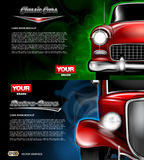 Digital vector red old retro car close up mockup. Ready for print or magazine design. Your brand, auto show and exhibition, lights on. Black background, blue stock illustration