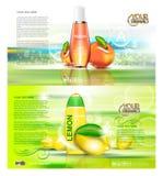 Digital vector red and orange shower gel vector illustration