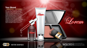 Digital vector red and silver skin. Care cream, eyedropper, foundation, mirror cosmetic container set mockup, your brand, print ads or magazine design Stock Images