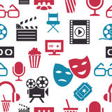 Digital vector red white cinema. Icons with drawn simple line art info graphic, seamless pattern, presentation with screen, movie and old camera elements around Stock Photography
