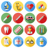 Digital vector red yellow blue medical icons. With drawn simple line art info graphic, ambulance tooth pills nurse heart tubes syringe medicine dropper first Stock Photo
