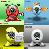 Digital vector robo set, music, fly, red, blue. Yellow and silver eye borg, 3d style Royalty Free Stock Images