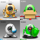 Digital vector robo set, painter, delivery. Projector, warrior, orange, green and silver eye borg, 3d style Stock Photography