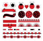 Digital vector scrapbook with ladybug Royalty Free Stock Photo