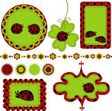 Digital vector scrapbook with ladybug Royalty Free Stock Images