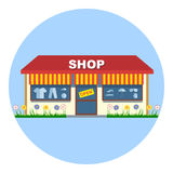 Digital vector shop storefront with open sign Stock Photography