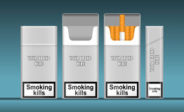 Digital vector silver cigarette pack mockup. Front and lateral view, smoking kills, realistic flat style,  and ready for your design and logo Royalty Free Stock Photos