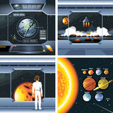 Digital vector silver cosmos ship icons Royalty Free Stock Images