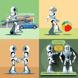 Digital vector silver happy robot set. At autoservice, playing with ball, shaking hand and talking to another robot, flat style Royalty Free Stock Photography