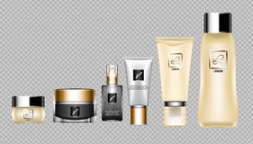 Digital vector skin care cream. Digital vector brown skin care cream, lotion and perfume cosmetic container set mockup collection, your brand package, print ads Stock Photo