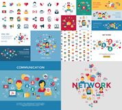 Digital vector social media and communication. Network icon set stock illustration
