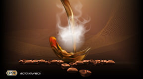 Digital Vector Steaming coffee Background with coffee beans. Ready for product placement and infographic, poster, ads Stock Images
